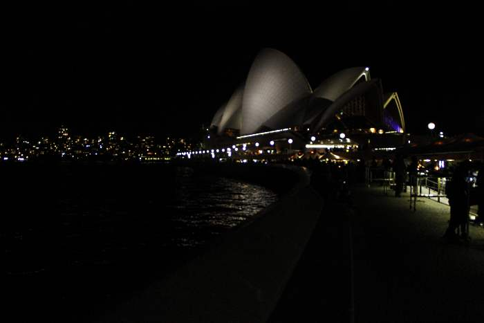 夜间的歌剧院灯光闪烁,格外亮眼。