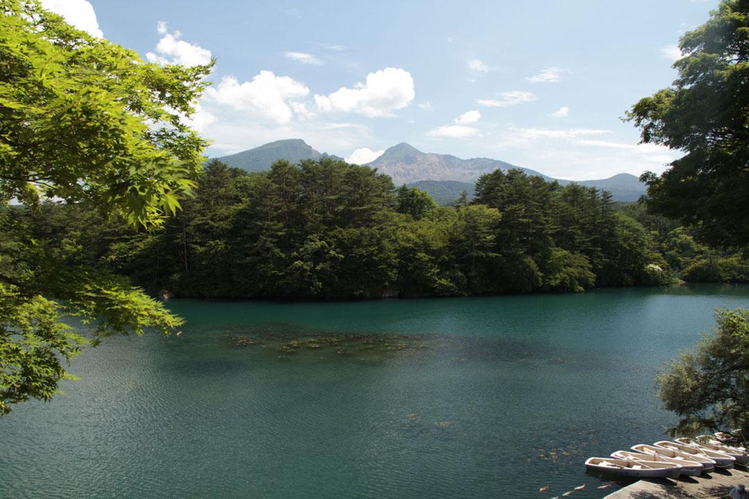 五色沼湖泊会根据气象变化,以及土壤中富含矿物质,多种化学成分使湖面呈现出翡翠绿或粉蓝色的梦幻色彩。
