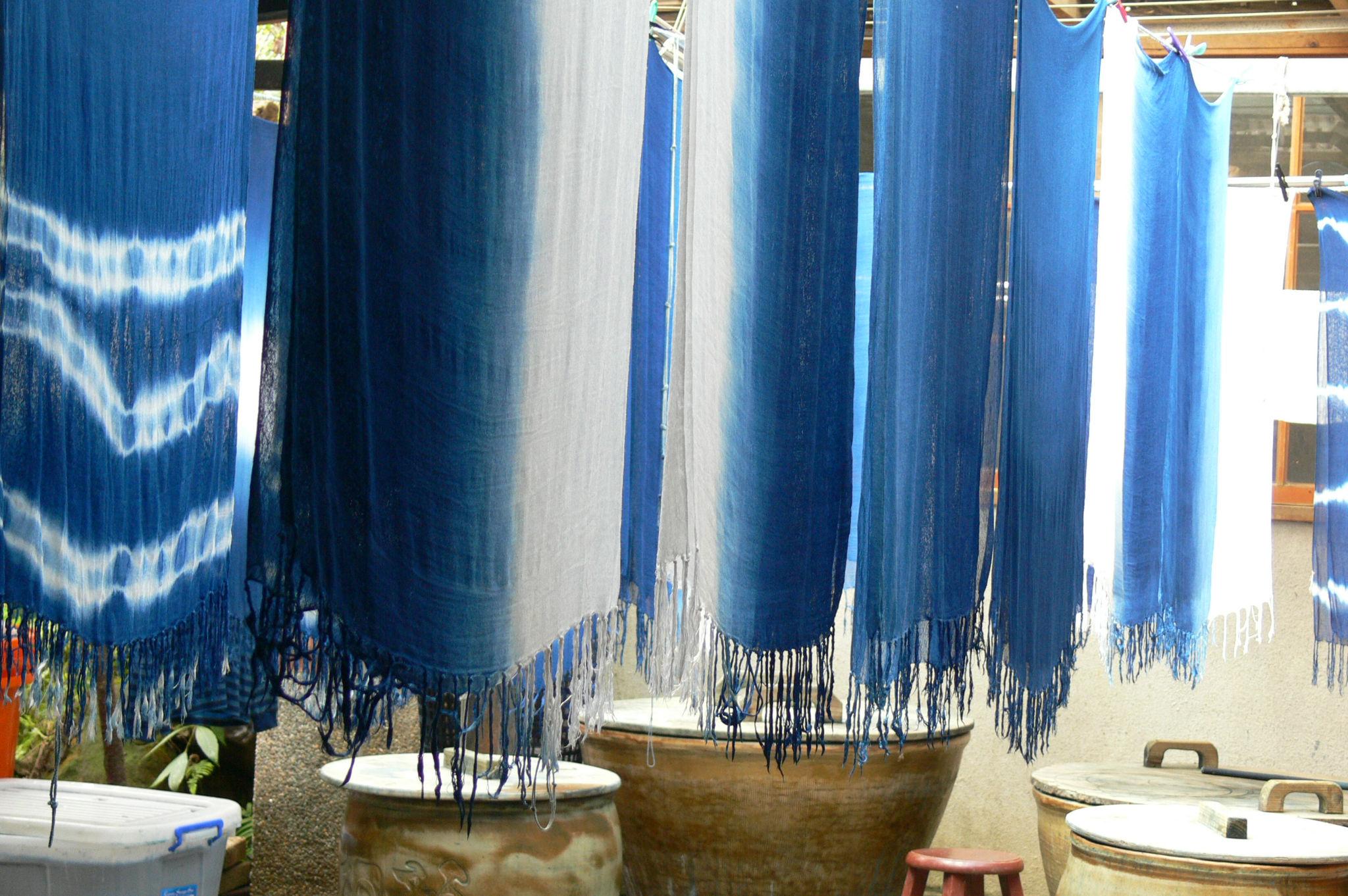 蓝染的体验及作品的呈现,让卓也园区更有特色!