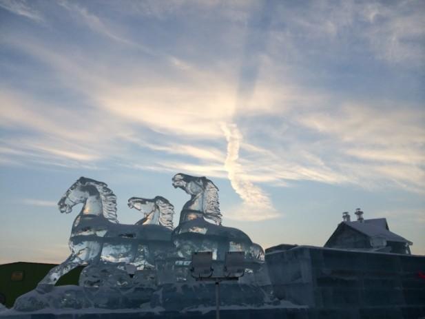 白天的冰雕,在阳光的照射下更显得壮观!