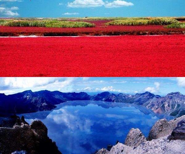 中国东北 · 极致的红(红海滩)与蓝(长白山天池)。