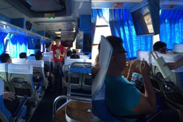 大伙儿在巴士车上抽签,决定前往拍摄的目的地!