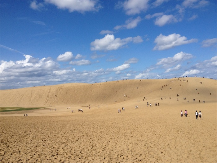 Tottori Sand Dunes are the largest sand dunes in Japan. It spans roughly 16 kilometers and are up to 2 kilometers wide. The small hill known as Umanose ('the horse's back') offers a picturesque panorama of the ocean.