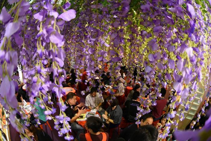 今年的紫藤花主题,就引来了许多民众前来拍照。
