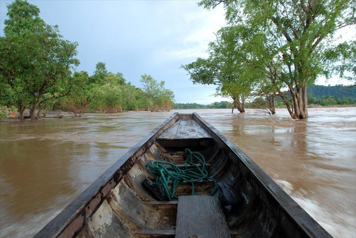 乘船出发到柬埔寨河岸观看海豚。