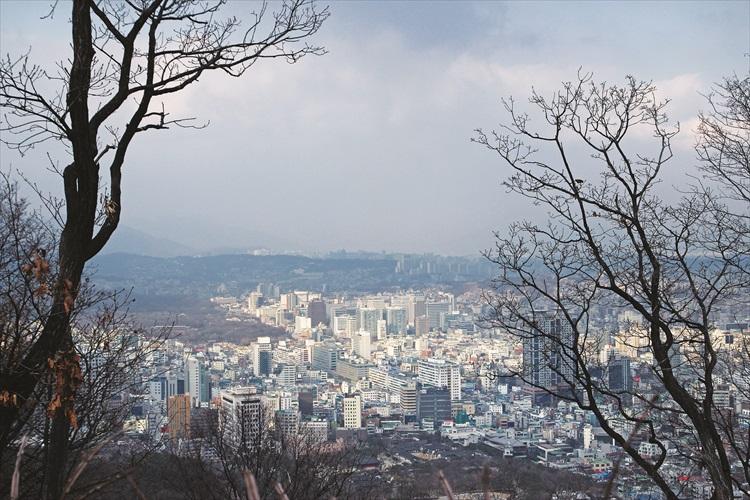 首尔塔位于山坡上,沿途都可看见如此美丽的景色。
