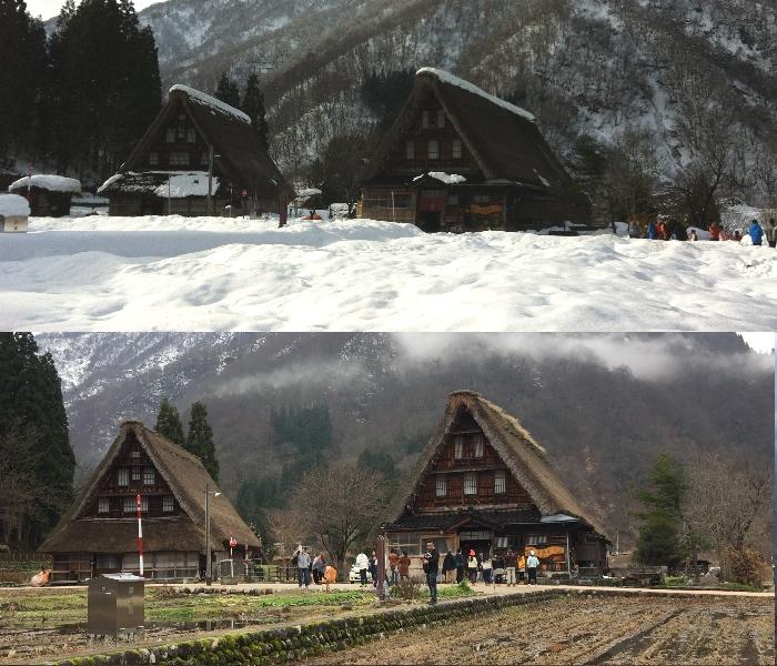 今年的冬季五箇山空气依旧清凉,只欠白雪啊! 上图摄于2014年12月21日。 下图摄于2015年12月22日。