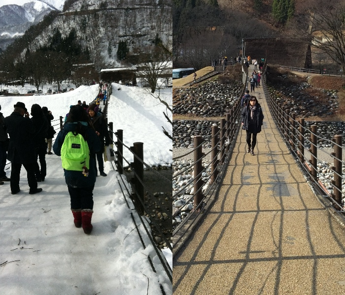得爱桥是连接停车场和合掌村罗的吊桥。 左图摄于2014年12月21日。 右图摄于2015年12月22日。