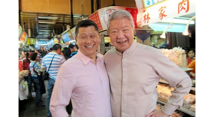 Thematic tour: Lee San (left) and Hong Kong food connoisseur Chua Lam during a gourmet tour overseas.