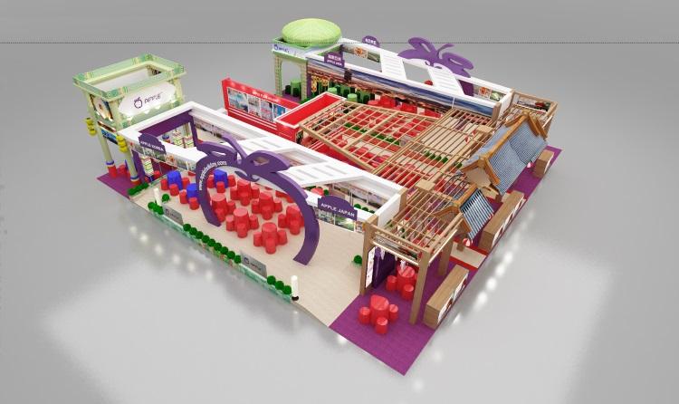 今年的蘋果展摊鸟瞰图。依旧以紫色做主要的设计色调,在佐以红色、绿色、蓝色等其他色调来带出亚洲、韩国、穆斯林的特色。