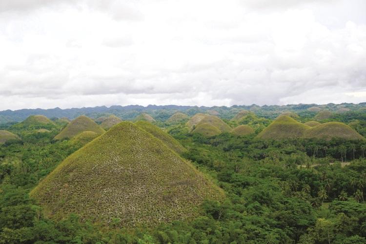 绵延的巧克力山,在旱季时会出现棕褐色。