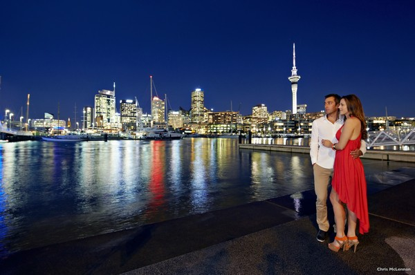 Auckland city at night, Auckland, New Zealand