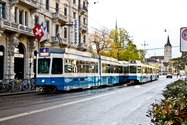 5Electric tram in the city of Zurich, Switzerland on April 2