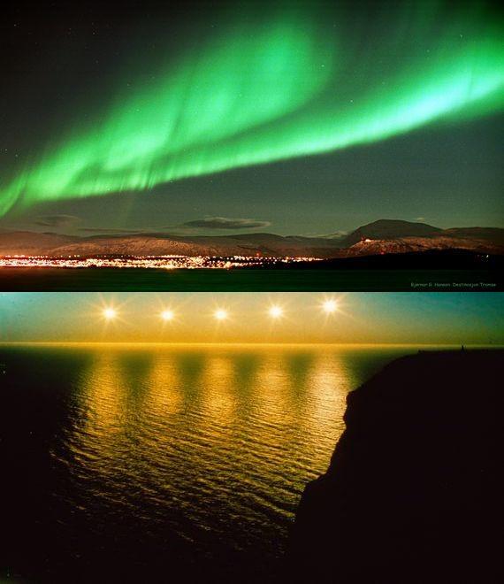北角极其特别的午夜太阳与极光。