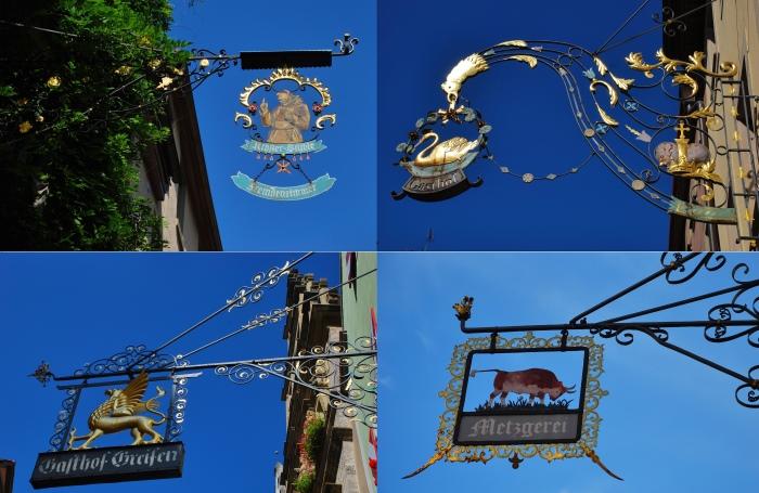 城里其中引人注目的是手工精细的招牌。