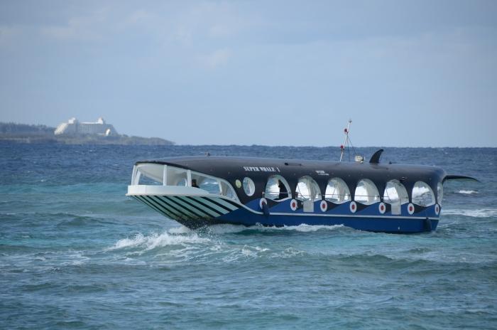 鲸鱼造型玻璃船在海上奔驰,非常有型!
