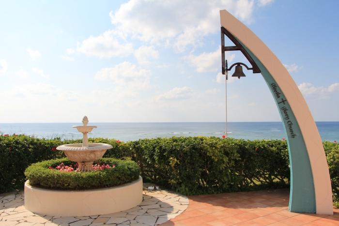 婚礼后,新人可以走到能眺望东中国海的阳台上敲响誓言之钟。