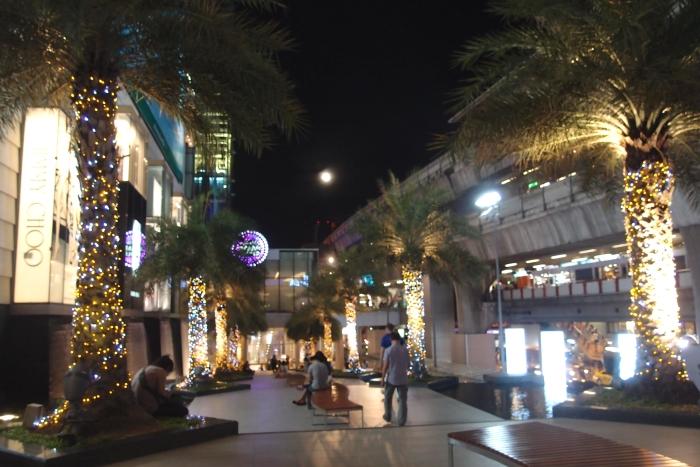 商场外的环境依然美丽。