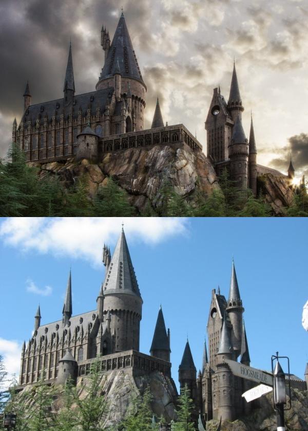 电影里头的霍格沃茨城堡(上)和园区的霍格沃茨城堡,相差无几! (摘自互联网和www.universalorlando.com)