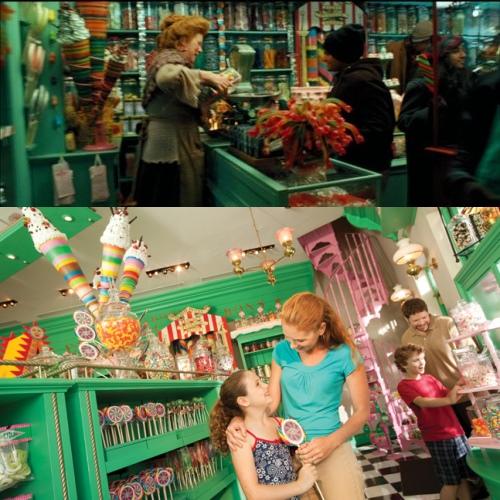 电影的蜂蜜公爵(上)和公园的(下)也没什么差别,一样有售卖魔法甜品巧克力蛙! (摘自互联网和www.universalorlando.com)