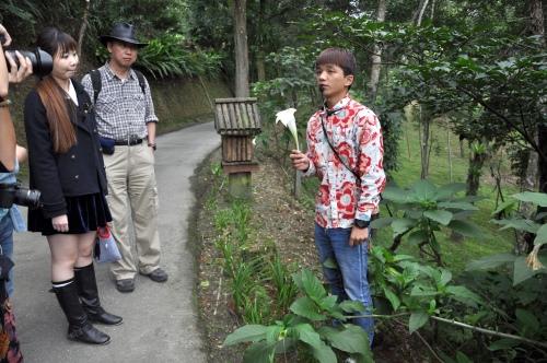 导览员讲解园区植物的种类和特质。