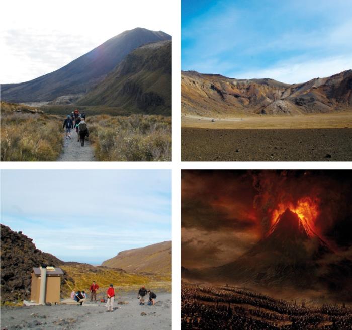 左上:Tongariro Alpine Crossing开始时的平坦步道。 左下:沿途还贴心设有厕所。 右下:这是就在魔戒电影里慑魂夺魄的末日火山Mt. Doom。