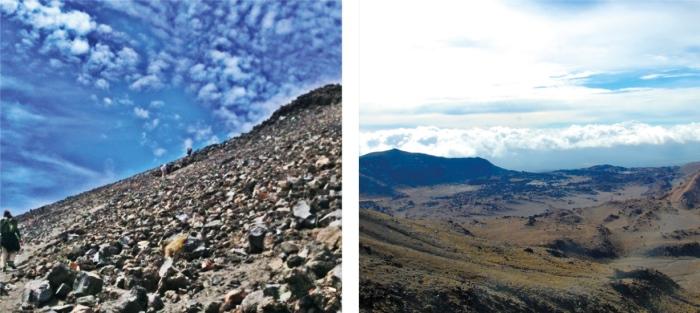左:爬上末日火山之过程非常险峻,根本无法拿出我的单眼拍照,而这也是仅有一张用手机在上山过程中拍的照片,后来我都是聚精会神不让自己摔下山。 右:Tongariro Alpine Crossing沿途的风景。