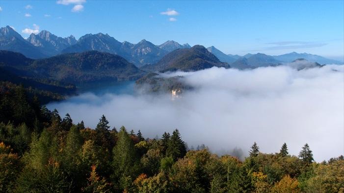 云海、针叶林、新天鹅堡,感觉童话里的故事好像越来越贴近现实。