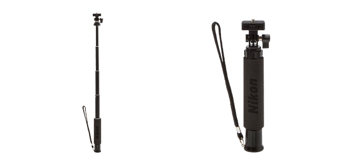 (左)N-MP001 自带一个三脚架接口,同时配备一个固定平头来方便调整相机角度。 (右)持握部分採用泡沫材质,附带一根手带方便携带。(资料图片取自:www.juksy.com)