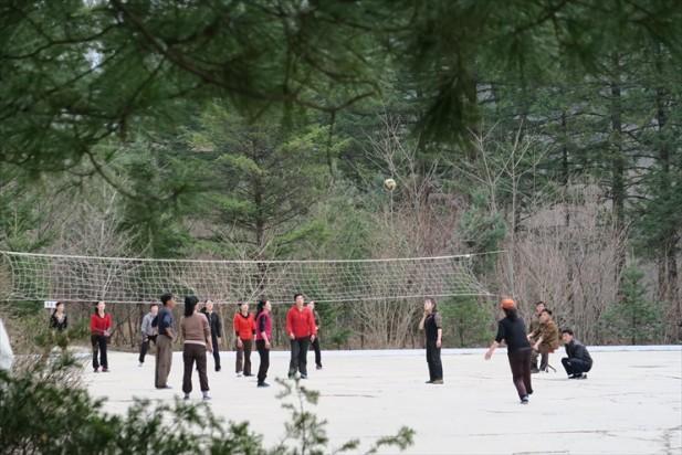 工余的运动;朝鲜人不知道什么是高尔夫球,可是排球绝对是全民运动。