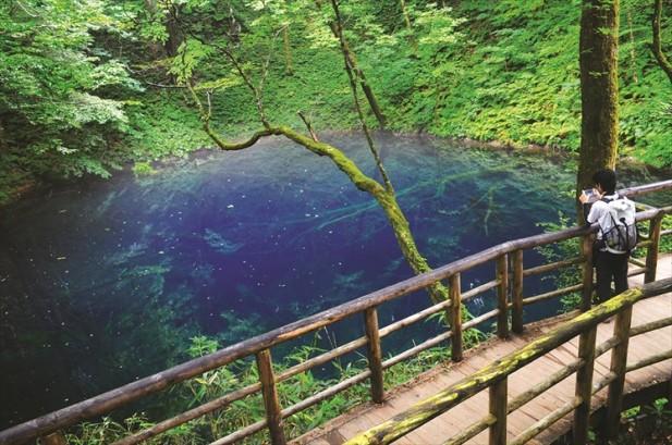 因光线和角度的关系,这边所见的清池就散发着神秘且梦幻的清蓝池水。