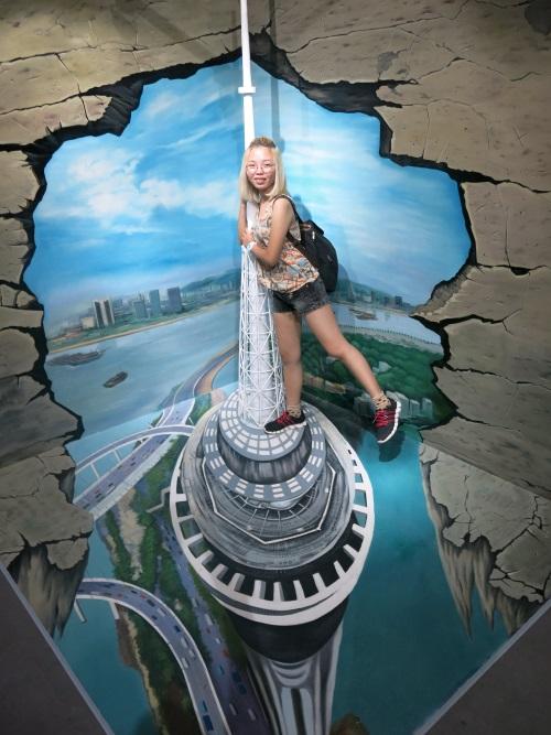 澳门景点3D之旅,让你站在澳门旅游塔塔顶,高爬建筑看大三巴!