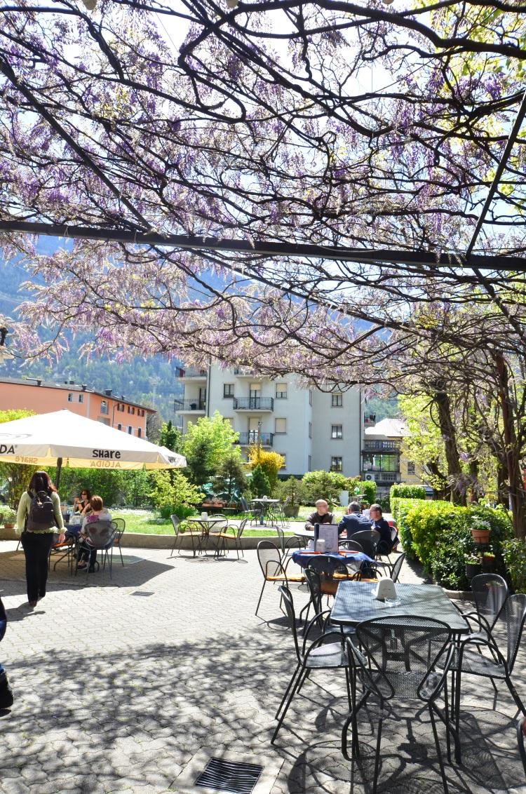 在餐馆的花架下,享受意式阳光。