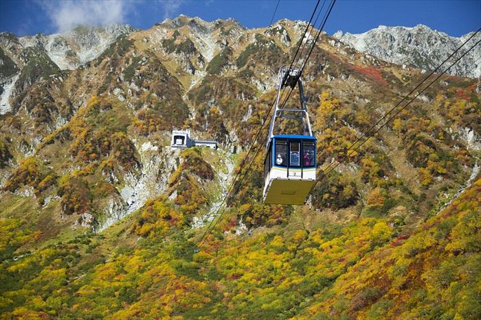 在立山黑部阿尔卑斯山脉路线上,游客得换乘多大7种交通工具,攀山越湖赏绝美景色。