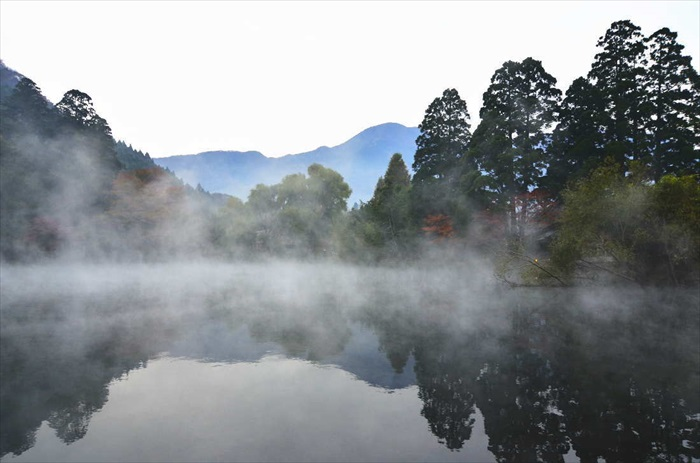有的时候,这温泉湖还会因温差起雾。