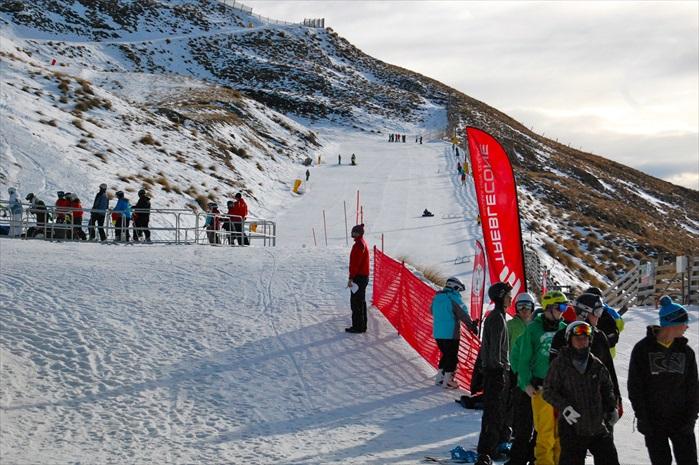 Treble Cone滑雪场的初级滑道。