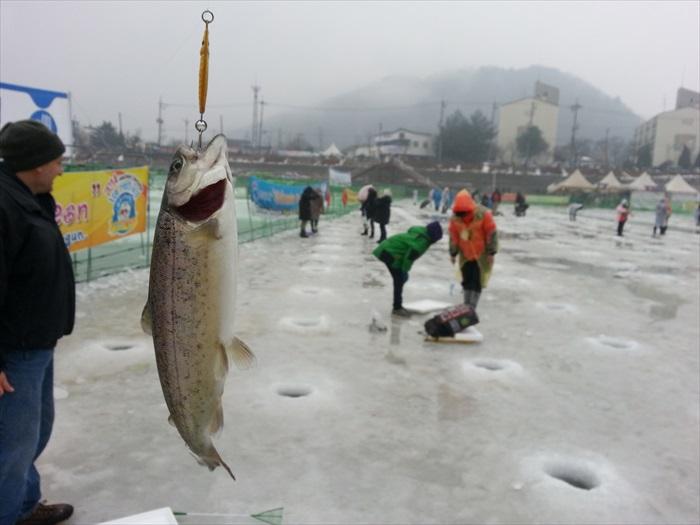 有趣好玩的冰上钓鱼。