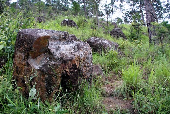 Phu Kheng Jars Quary Site陡斜的山形布满大石块,也是传说中石臼的原产地。