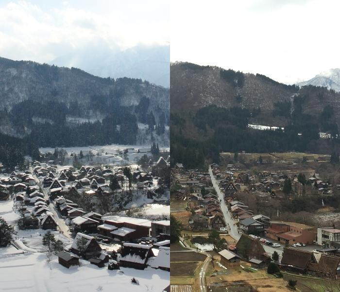 右图为今年12月22日的白川乡合掌村,虽已迈入冬季却无白雪。 左图为去年2014年12月21日的白川乡合掌村。