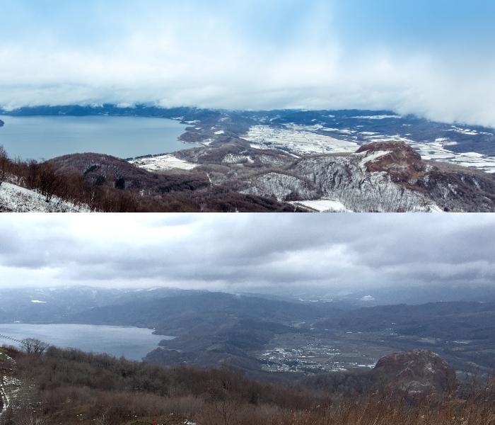 从有珠山上往下观望,去年今日的差别。 上图摄于2014年12月10日。 下图摄于2015年12月11日。