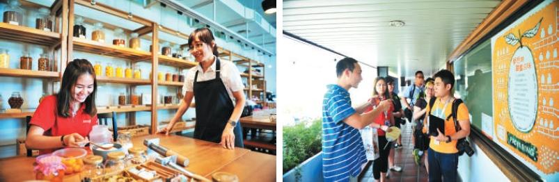 馆内备有金枣蜜饯的DIY 活动,让访客了解并参与蜜饯的制作过程。(左)第二代掌门人林鼎刚热情地述说橘之乡一路走来的历程。(右)