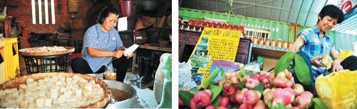 宜兰著名的豆腐乳,是阿嫲的用心之作。(左)香甜多汁的水翁经过拣选再入盒,销售范围遍及全国各地。(右)