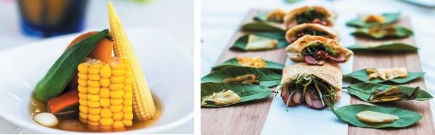 以昆布腌渍南瓜,再搭配当季秋葵、玉米和玉米笋,简单质朴。(左)带有原住民风味的葛玛兰口袋烧饼,以樱桃鸭、三星葱等食材制成。(右)