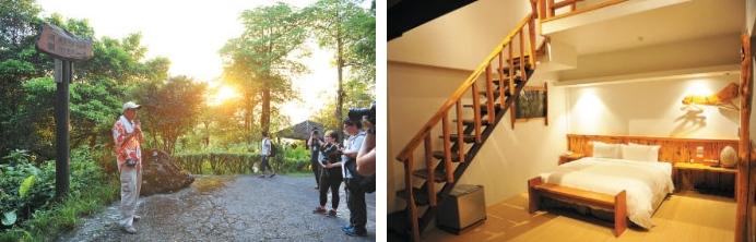 农场附专人导览, 带 崭新的松罗馆采用桧木装潢而成,整个房间都散发 自然的桧木香,睡眠也格外香甜。 从观光果园出发的香格里拉休闲农场,发展至今已有二十多年历史。领大家参观各个园区。(左)崭新的松罗馆采用桧木装潢而成,整个房间都散发自然的桧木香,睡眠也格外香甜。(右)