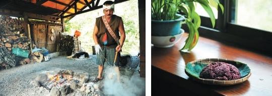 """将烧得火红的石头放入锅内,不上十秒水就 开始沸腾, 这种"""" 石煮法""""是阿美族的传 统生活智慧。(左)欣绿农园著名的紫糯米饭。(右)"""