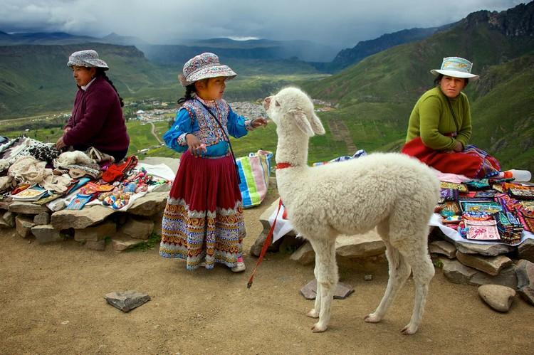 路上遇见了穿着传统服饰的妇女和女孩,她们身边的羊驼是供游客拍照赚钱的。