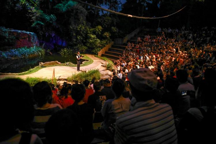 夜晚的精灵夜行性动物表演让观众彷佛置身于雨林中,高度互动的表演更博得热烈的喝彩,是园区内非常受欢迎的节目。