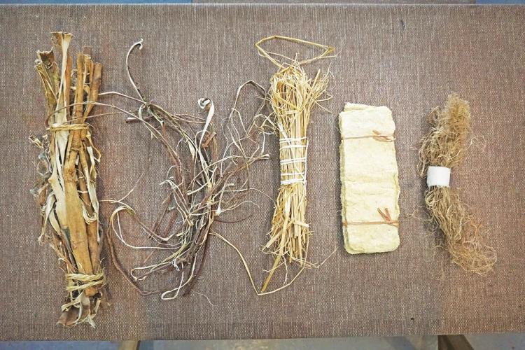 这都是可以制造手工纸的材质:(左起)构树白树皮、构树黑树皮、备好稻草纸浆、稻草和香蕉。