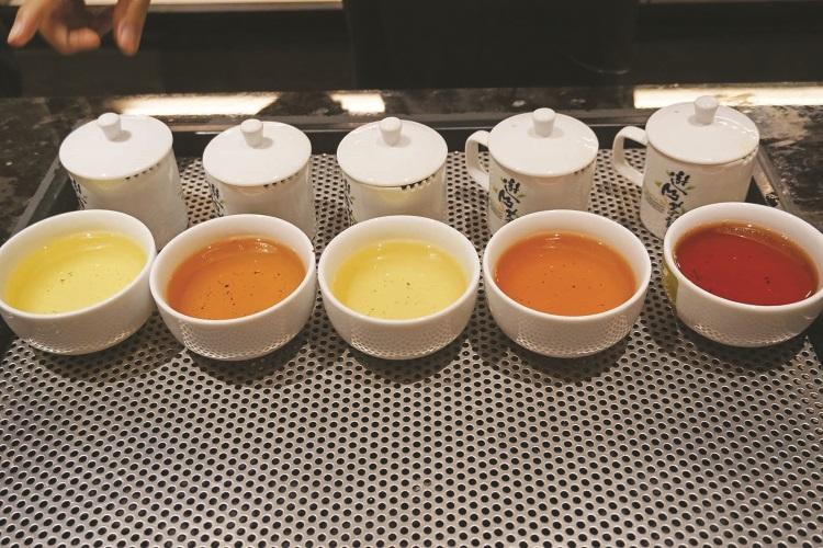 不同种类的茶都会呈现不同的味道而且色泽也不一样。(左起)清香乌龙茶、碳焙乌龙茶、金萱茶、东方美人和日月潭红茶。