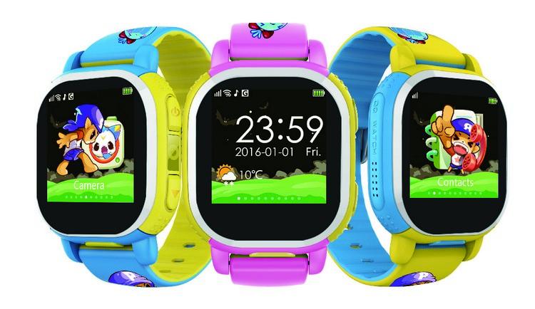 东南亚首发的腾讯QQ儿童手表,共有黄、蓝、粉红三种颜色供选。